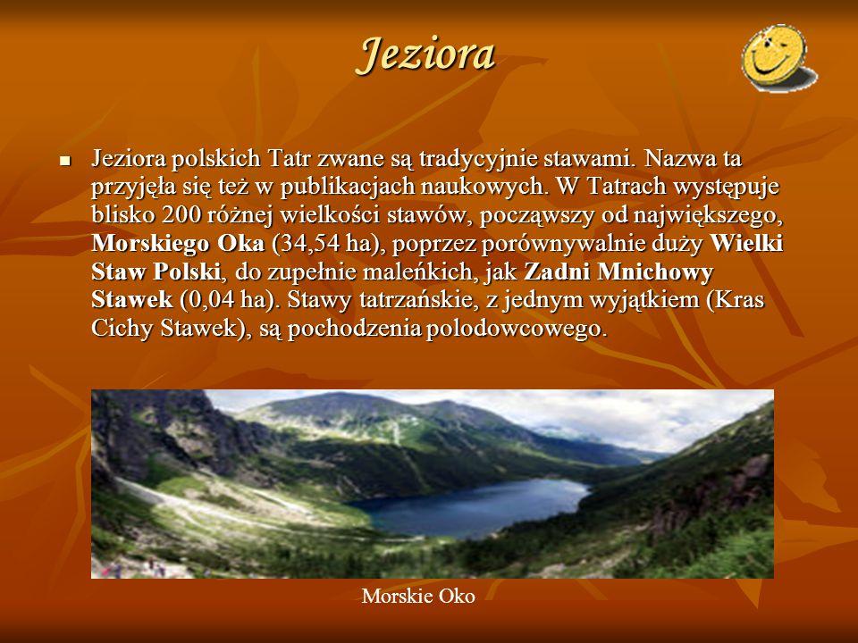 Jeziora Jeziora polskich Tatr zwane są tradycyjnie stawami. Nazwa ta przyjęła się też w publikacjach naukowych. W Tatrach występuje blisko 200 różnej