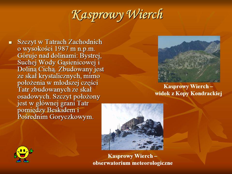 Kasprowy Wierch Szczyt w Tatrach Zachodnich o wysokości 1987 m n.p.m. Góruje nad dolinami: Bystrej, Suchej Wody Gąsienicowej i Doliną Cichą. Zbudowany