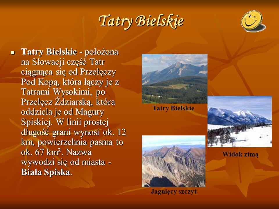 Tatry Bielskie Tatry Bielskie - położona na Słowacji część Tatr ciągnąca się od Przełęczy Pod Kopą, która łączy je z Tatrami Wysokimi, po Przełęcz Źdz