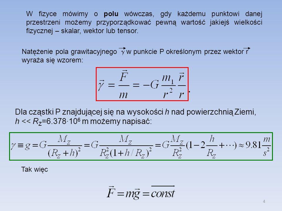 4 W fizyce mówimy o polu wówczas, gdy każdemu punktowi danej przestrzeni możemy przyporządkować pewną wartość jakiejś wielkości fizycznej – skalar, we