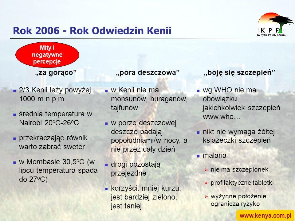 www.kenya.com.pl Rok 2006 - Rok Odwiedzin Kenii za gorącopora deszczowaboję się szczepień 2/3 Kenii leży powyżej 1000 m n.p.m.