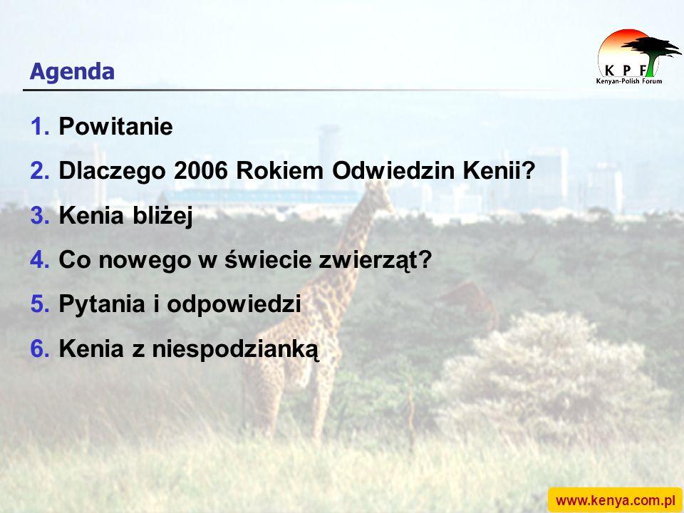 www.kenya.com.pl Agenda 1.Powitanie 2.Dlaczego 2006 Rokiem Odwiedzin Kenii.