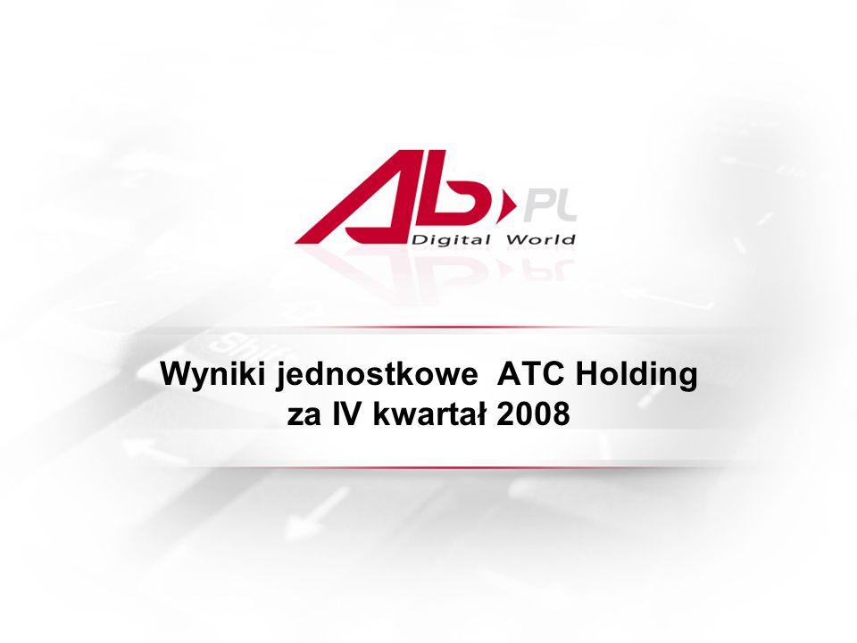 Wyniki jednostkowe ATC Holding za IV kwartał 2008
