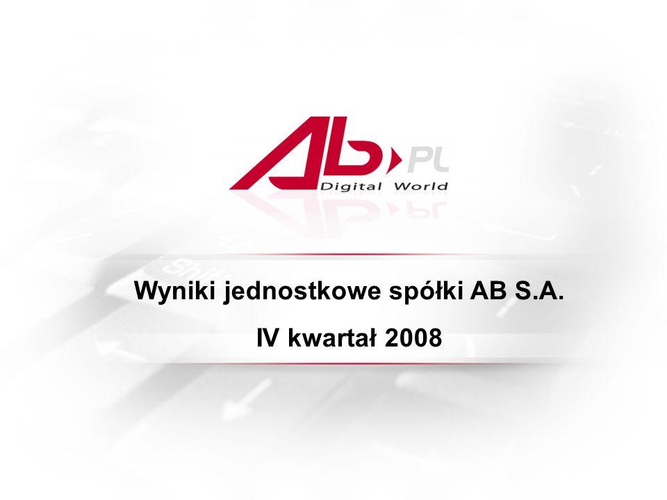 Wyniki jednostkowe spółki AB S.A. IV kwartał 2008