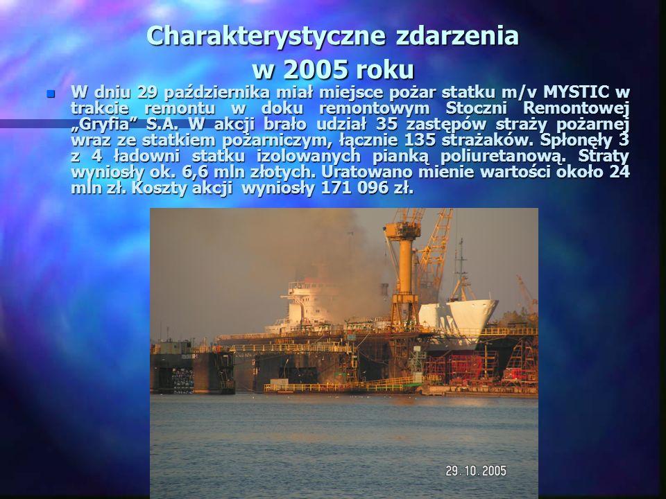 Charakterystyczne zdarzenia w 2005 roku n W dniu 29 października miał miejsce pożar statku m/v MYSTIC w trakcie remontu w doku remontowym Stoczni Remontowej Gryfia S.A.