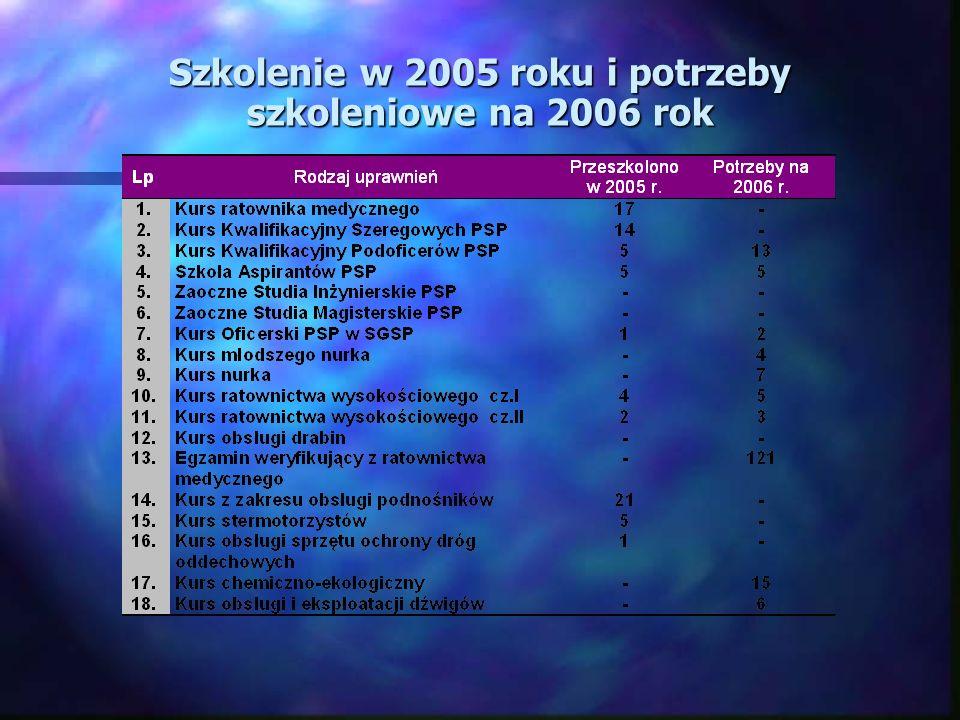 Szkolenie w 2005 roku i potrzeby szkoleniowe na 2006 rok