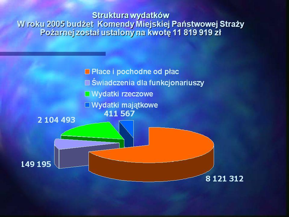 Struktura wydatków W roku 2005 budżet Komendy Miejskiej Państwowej Straży Pożarnej został ustalony na kwotę 11 819 919 zł