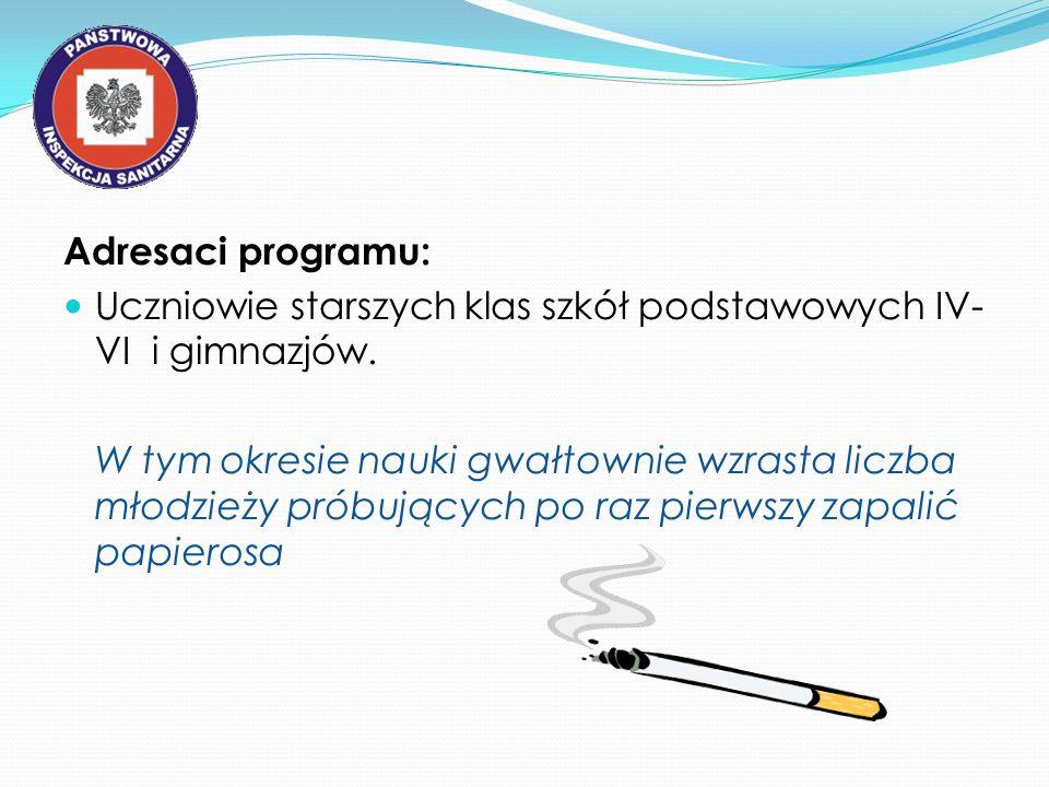 Adresaci programu: Uczniowie starszych klas szkół podstawowych IV- VI i gimnazjów. W tym okresie nauki gwałtownie wzrasta liczba młodzieży próbujących