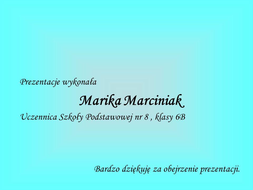 Prezentacje wykonała Marika Marciniak Uczennica Szkoły Podstawowej nr 8, klasy 6B Bardzo dziękuję za obejrzenie prezentacji.