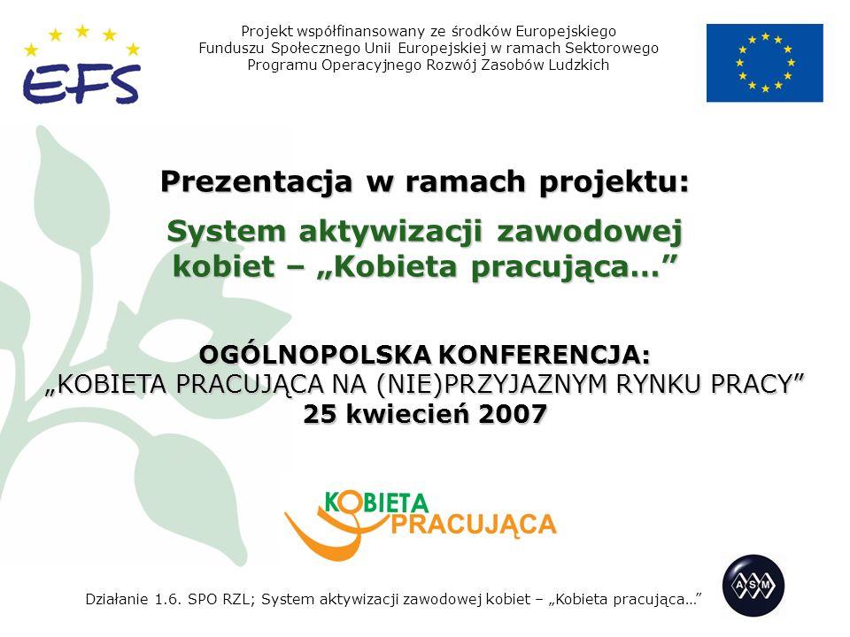 Prezentacja w ramach projektu: System aktywizacji zawodowej kobiet – Kobieta pracująca… OGÓLNOPOLSKA KONFERENCJA: KOBIETA PRACUJĄCA NA (NIE)PRZYJAZNYM RYNKU PRACY 25 kwiecień 2007 Projekt współfinansowany ze środków Europejskiego Funduszu Społecznego Unii Europejskiej w ramach Sektorowego Programu Operacyjnego Rozwój Zasobów Ludzkich Działanie 1.6.