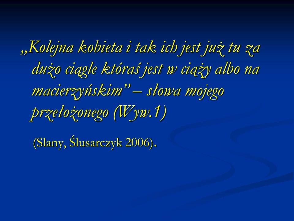 Kolejna kobieta i tak ich jest już tu za dużo ciągle któraś jest w ciąży albo na macierzyńskim – słowa mojego przełożonego (Wyw.1) (Slany, Ślusarczyk 2006).