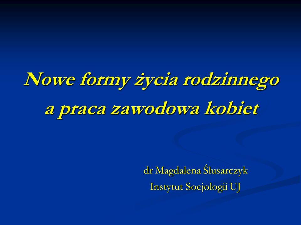 Nowe formy życia rodzinnego a praca zawodowa kobiet dr Magdalena Ślusarczyk Instytut Socjologii UJ Instytut Socjologii UJ
