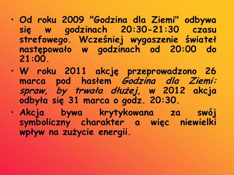 Od roku 2009 Godzina dla Ziemi odbywa się w godzinach 20:30-21:30 czasu strefowego.