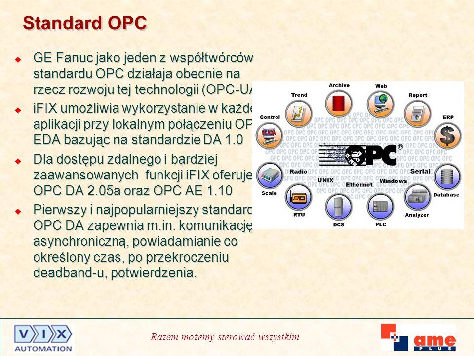 Razem możemy sterować wszystkim Standard OPC GE Fanuc jako jeden z współtwórców standardu OPC działaja obecnie na rzecz rozwoju tej technologii (OPC-U