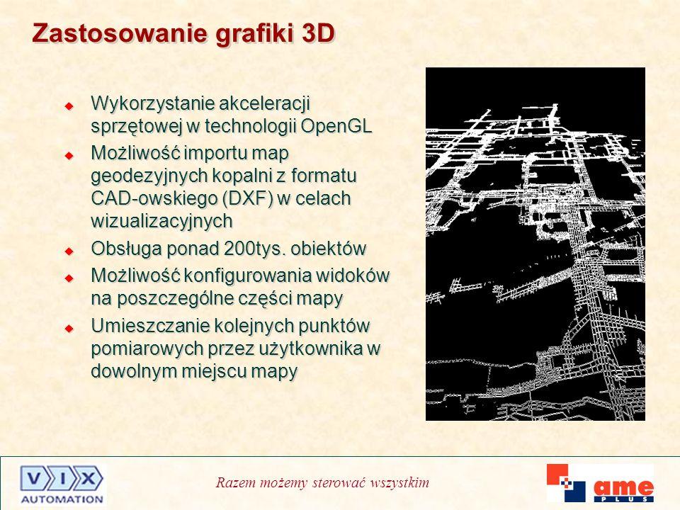 Razem możemy sterować wszystkim Zastosowanie grafiki 3D Wykorzystanie akceleracji sprzętowej w technologii OpenGL Możliwość importu map geodezyjnych k
