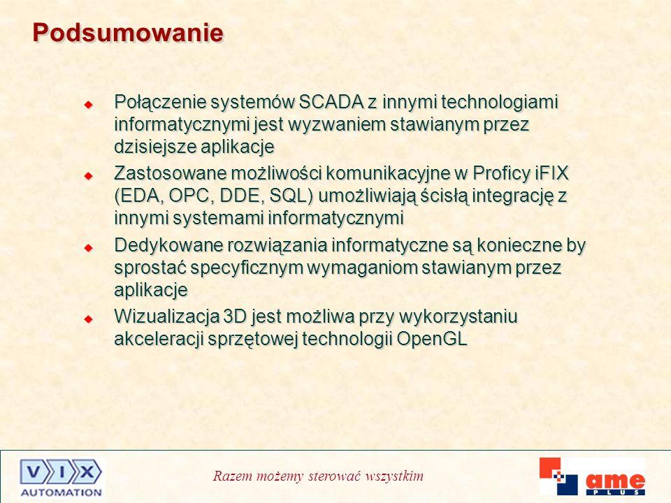 Razem możemy sterować wszystkim Podsumowanie Połączenie systemów SCADA z innymi technologiami informatycznymi jest wyzwaniem stawianym przez dzisiejsz