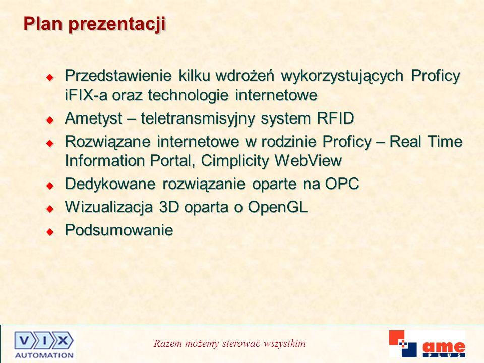 Razem możemy sterować wszystkim Plan prezentacji Przedstawienie kilku wdrożeń wykorzystujących Proficy iFIX-a oraz technologie internetowe Ametyst – t