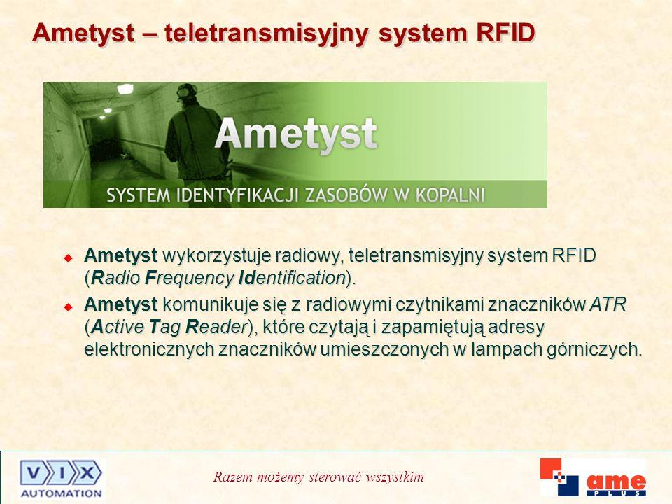 Razem możemy sterować wszystkim Ametyst – teletransmisyjny system RFID Ametyst wykorzystuje radiowy, teletransmisyjny system RFID (Radio Frequency Ide