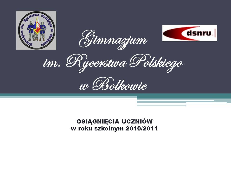 Gimnazjum im. Rycerstwa Polskiego w Bolkowie OSIĄGNIĘCIA UCZNIÓW w roku szkolnym 2010/2011