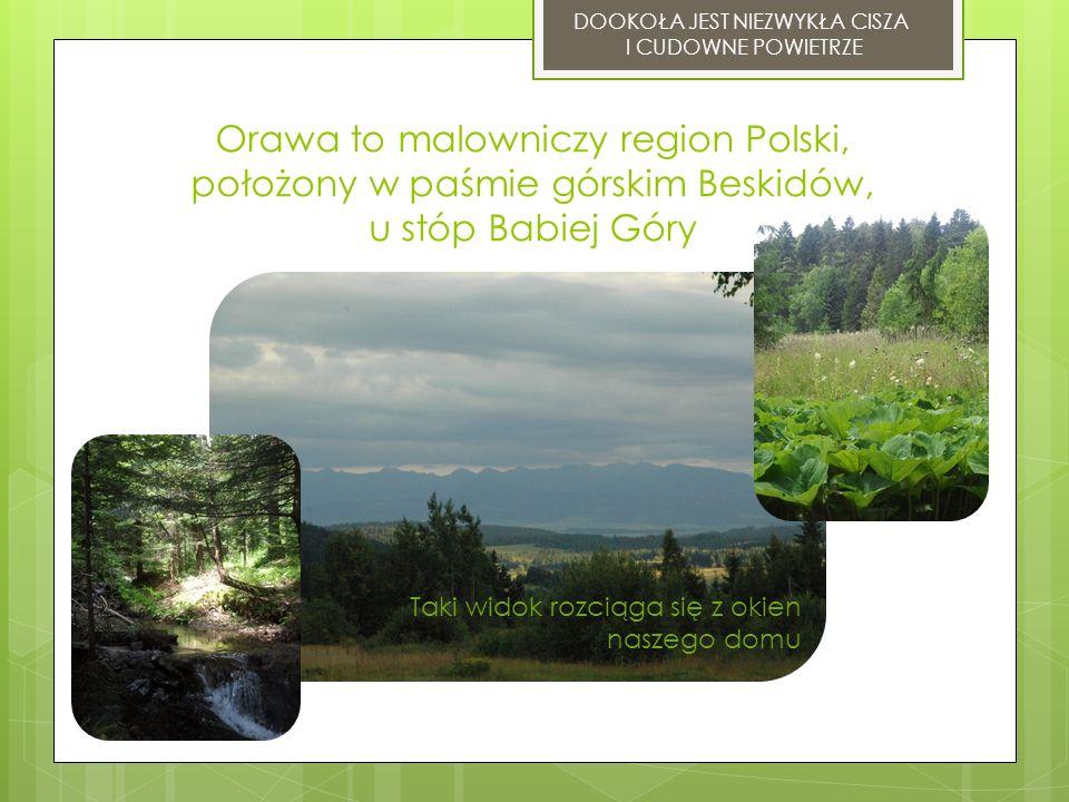 Orawa to malowniczy region Polski, położony w paśmie górskim Beskidów, u stóp Babiej Góry DOOKOŁA JEST NIEZWYKŁA CISZA I CUDOWNE POWIETRZE Taki widok