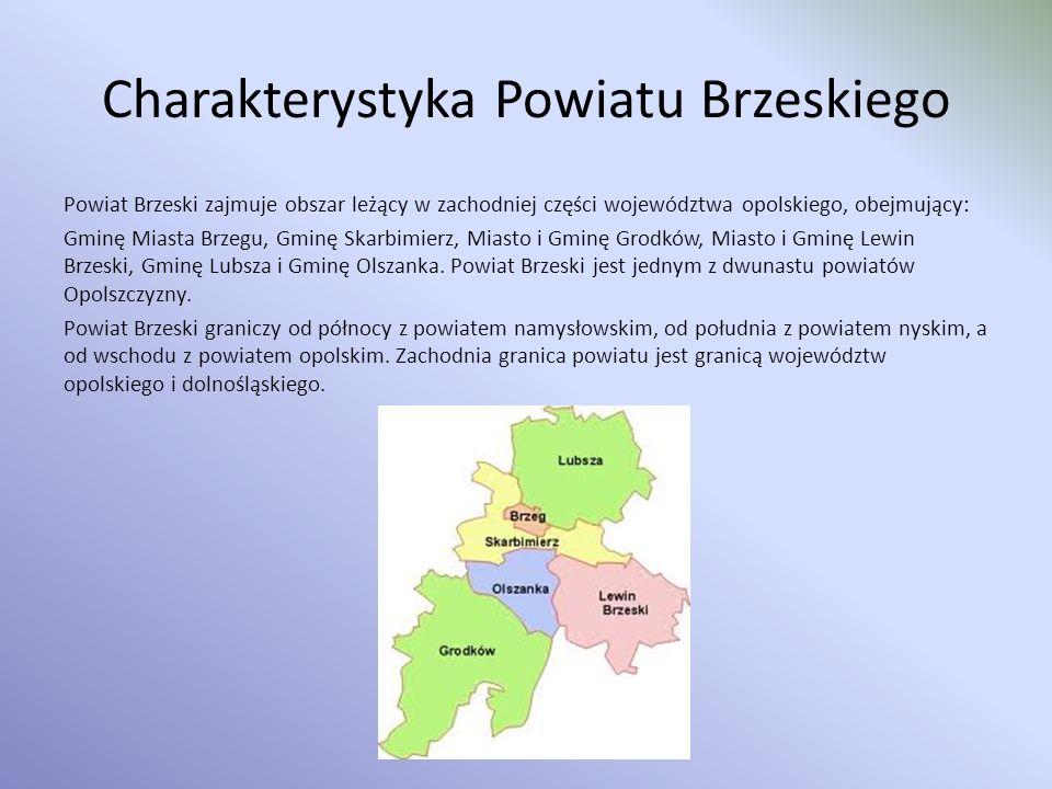 Charakterystyka Powiatu Brzeskiego Powiat Brzeski zajmuje obszar leżący w zachodniej części województwa opolskiego, obejmujący: Gminę Miasta Brzegu, G