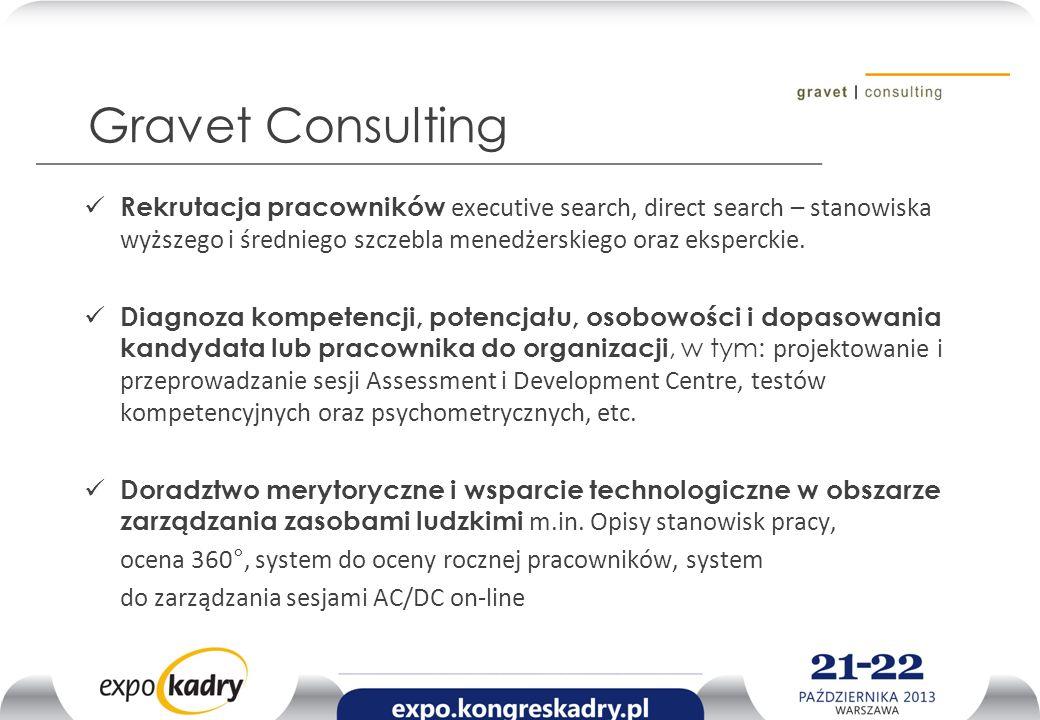 Gravet Consulting Rekrutacja pracowników executive search, direct search – stanowiska wyższego i średniego szczebla menedżerskiego oraz eksperckie. Di
