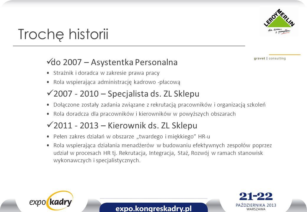 Trochę historii do 2007 – Asystentka Personalna Strażnik i doradca w zakresie prawa pracy Rola wspierająca administrację kadrowo -płacową 2007 - 2010