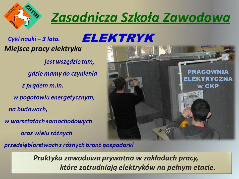 Zasadnicza Szkoła Zawodowa ELEKTRYK PRACOWNIA ELEKTRYCZNA w CKP Miejsce pracy elektryka jest wszędzie tam, gdzie mamy do czynienia z prądem m.in.
