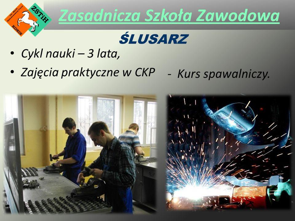 Zasadnicza Szkoła Zawodowa Cykl nauki – 3 lata, Zajęcia praktyczne w CKP ŚLUSARZ - Kurs spawalniczy.