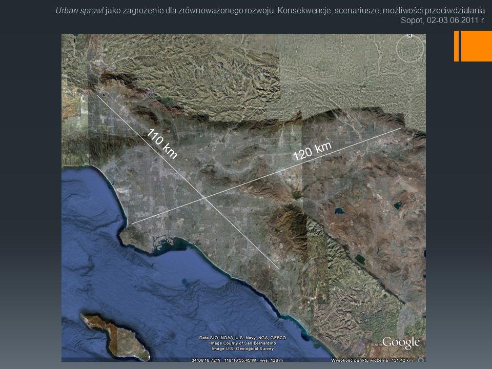 Urban sprawl jako zagrożenie dla zrównoważonego rozwoju. Konsekwencje, scenariusze, możliwości przeciwdziałania Sopot, 02-03.06.2011 r. 110 km 120 km