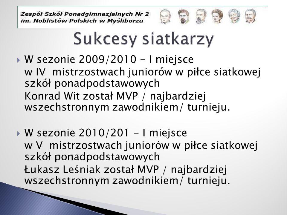 W sezonie 2009/2010 - I miejsce w IV mistrzostwach juniorów w piłce siatkowej szkół ponadpodstawowych Konrad Wit został MVP / najbardziej wszechstronn
