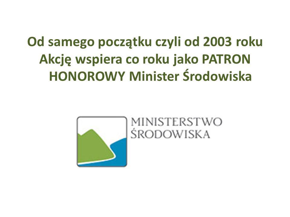 Od samego początku czyli od 2003 roku Akcję wspiera co roku jako PATRON HONOROWY Minister Środowiska