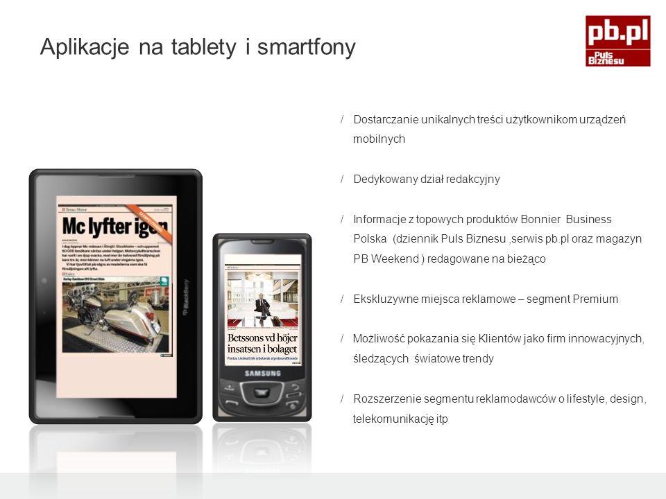 /Dostarczanie unikalnych treści użytkownikom urządzeń mobilnych /Dedykowany dział redakcyjny /Informacje z topowych produktów Bonnier Business Polska (dziennik Puls Biznesu,serwis pb.pl oraz magazyn PB Weekend ) redagowane na bieżąco /Ekskluzywne miejsca reklamowe – segment Premium /Możliwość pokazania się Klientów jako firm innowacyjnych, śledzących światowe trendy /Rozszerzenie segmentu reklamodawców o lifestyle, design, telekomunikację itp Aplikacje na tablety i smartfony