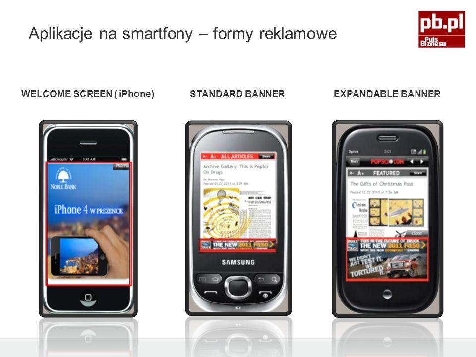 STANDARD BANNEREXPANDABLE BANNERWELCOME SCREEN ( iPhone) Aplikacje na smartfony – formy reklamowe