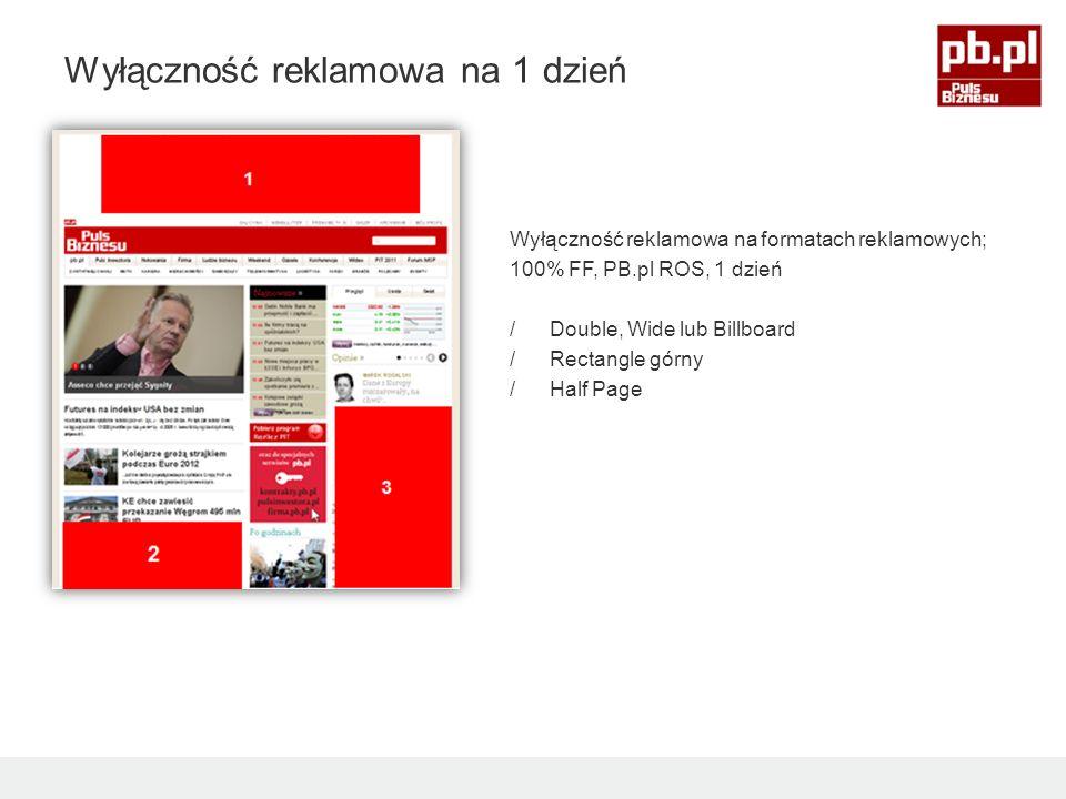 3 4 5 Wyłączność reklamowa na formatach reklamowych; 100% FF, PB.pl ROS, 1 dzień /Double, Wide lub Billboard /Rectangle górny /Half Page 1 3 4 5 1 2 3 Wyłączność reklamowa na 1 dzień