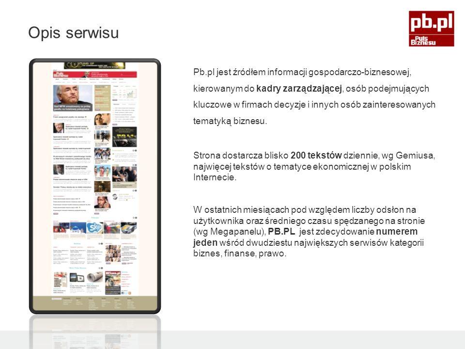 Pb.pl jest źródłem informacji gospodarczo-biznesowej, kierowanym do kadry zarządzającej, osób podejmujących kluczowe w firmach decyzje i innych osób zainteresowanych tematyką biznesu.