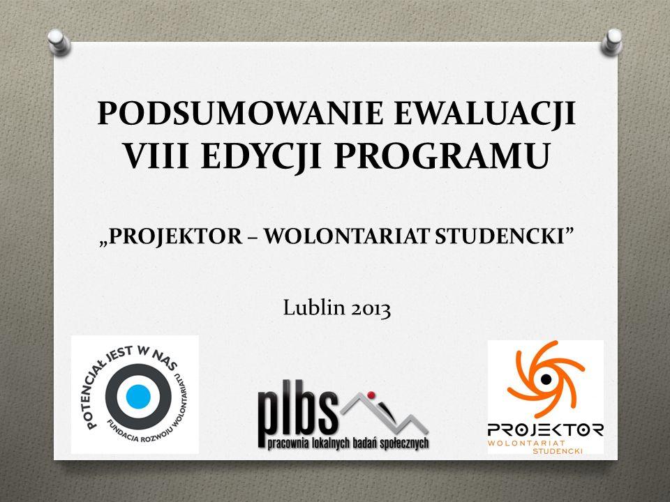 PODSUMOWANIE EWALUACJI VIII EDYCJI PROGRAMU PROJEKTOR – WOLONTARIAT STUDENCKI Lublin 2013
