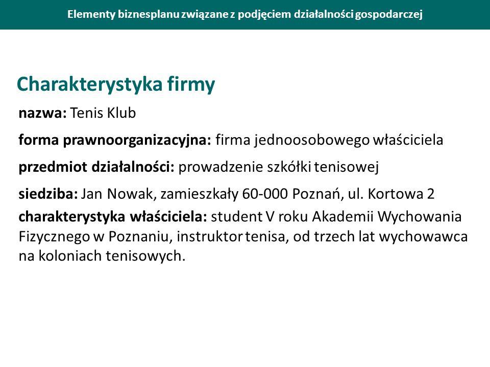 Elementy biznesplanu związane z podjęciem działalności gospodarczej Charakterystyka firmy nazwa: Tenis Klub forma prawnoorganizacyjna: firma jednoosob