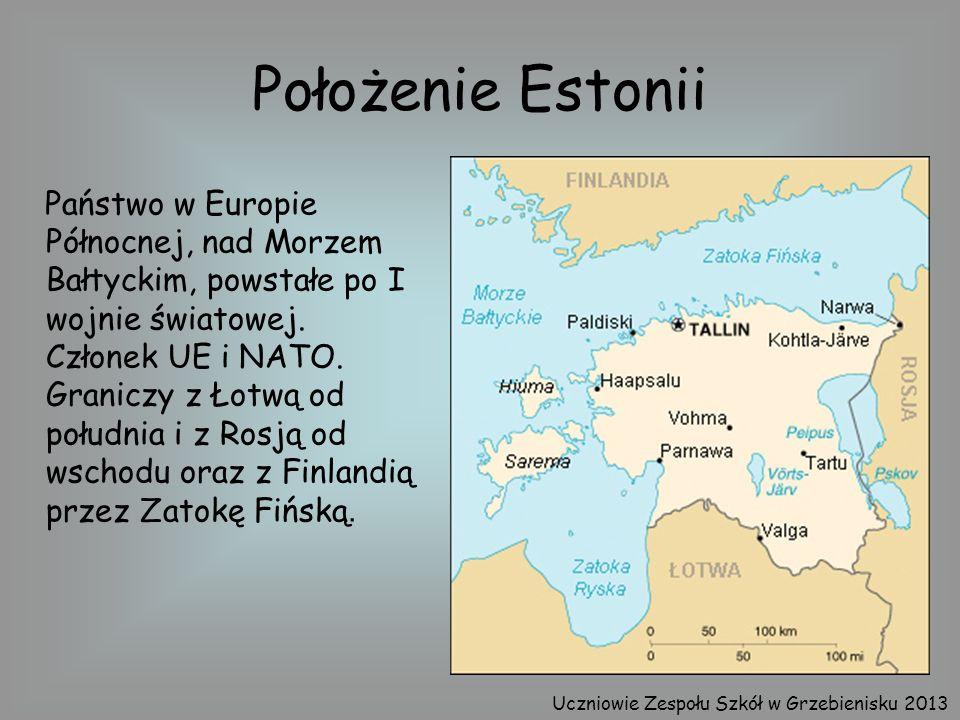 Położenie Estonii Państwo w Europie Północnej, nad Morzem Bałtyckim, powstałe po I wojnie światowej. Członek UE i NATO. Graniczy z Łotwą od południa i