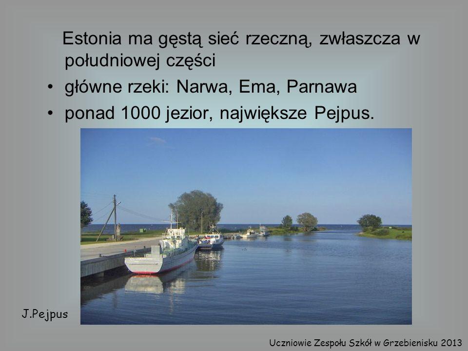 Estonia ma gęstą sieć rzeczną, zwłaszcza w południowej części główne rzeki: Narwa, Ema, Parnawa ponad 1000 jezior, największe Pejpus. J.Pejpus Uczniow