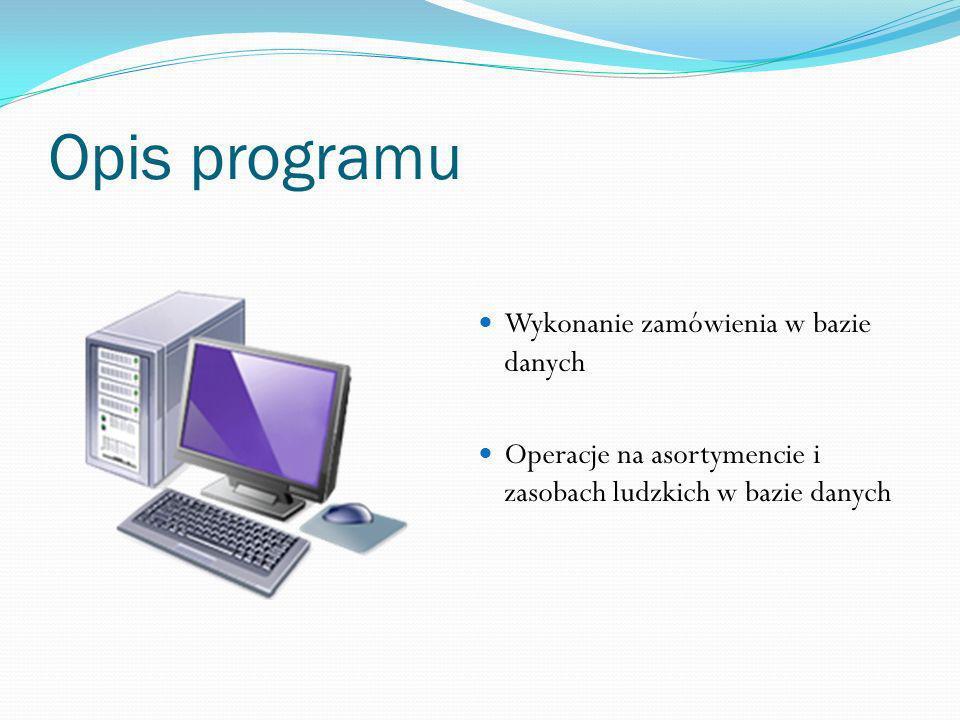 Opis programu Wykonanie zamówienia w bazie danych Operacje na asortymencie i zasobach ludzkich w bazie danych