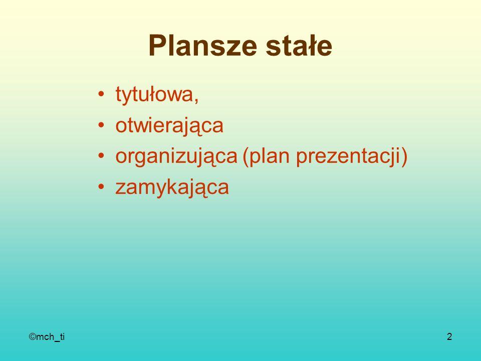 ©mch_ti2 Plansze stałe tytułowa, otwierająca organizująca (plan prezentacji) zamykająca