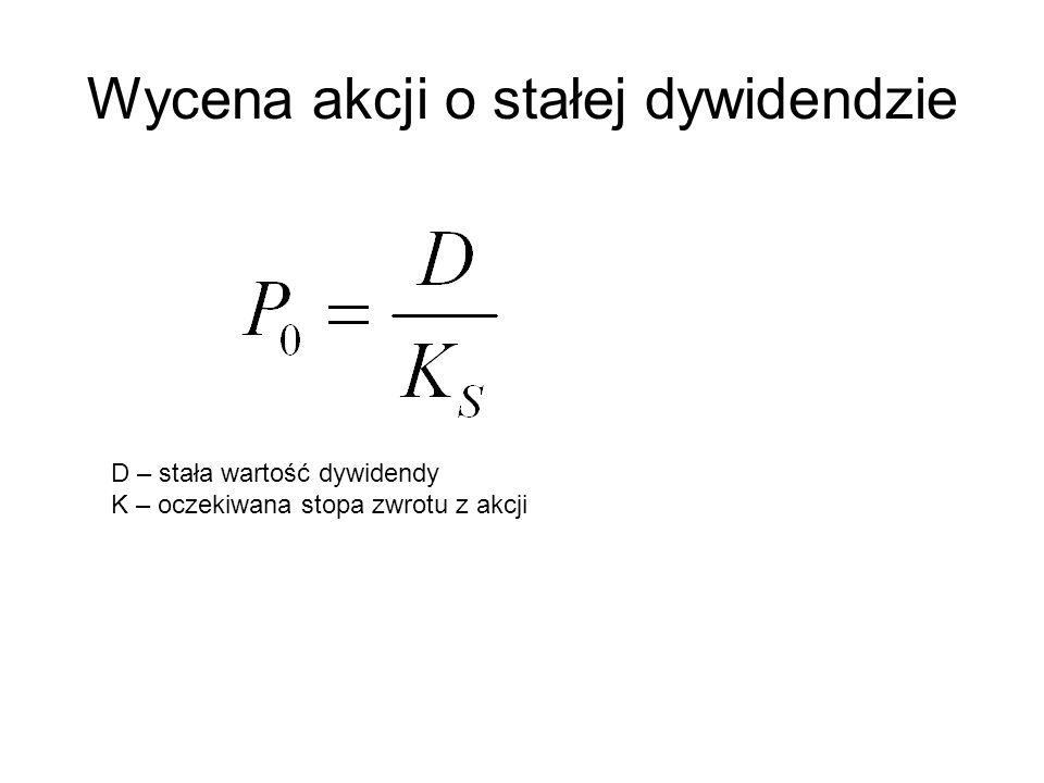 Wycena akcji o stałej dywidendzie D – stała wartość dywidendy K – oczekiwana stopa zwrotu z akcji