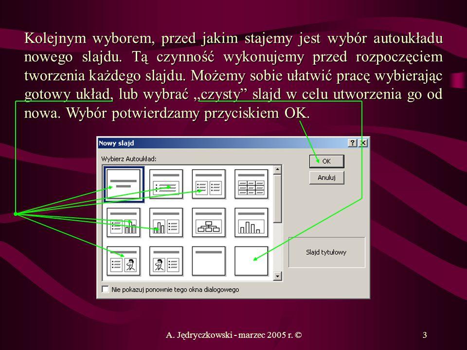 A. Jędryczkowski - marzec 2005 r. ©3 Kolejnym wyborem, przed jakim stajemy jest wybór autoukładu nowego slajdu. Tą czynność wykonujemy przed rozpoczęc