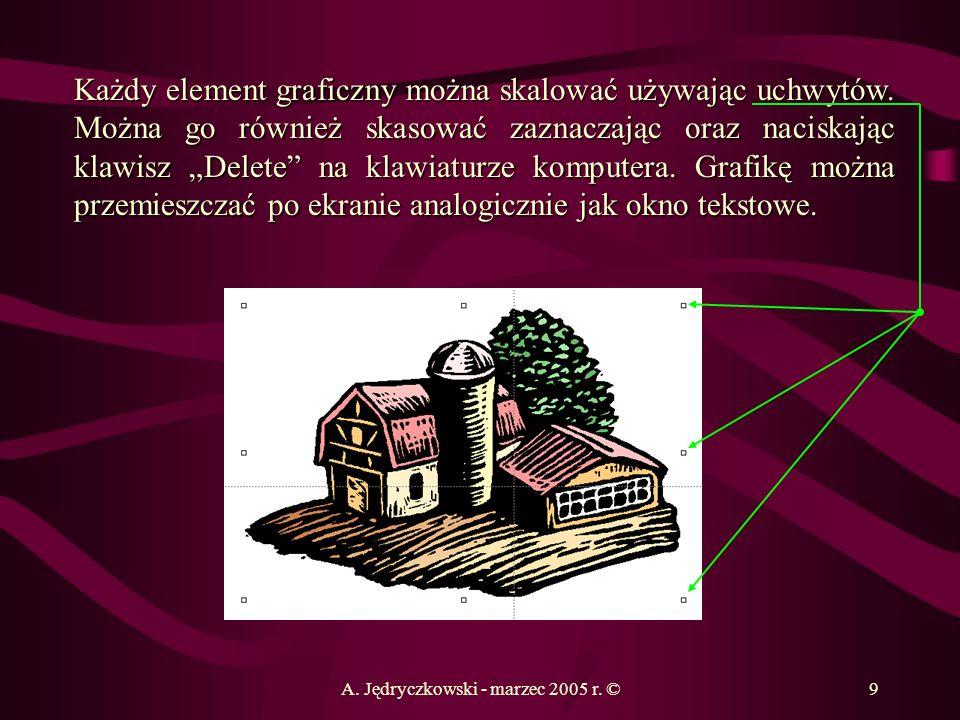 A. Jędryczkowski - marzec 2005 r. ©9 Każdy element graficzny można skalować używając uchwytów. Można go również skasować zaznaczając oraz naciskając k