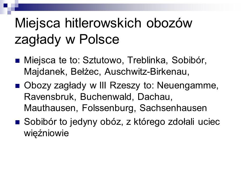 Miejsca hitlerowskich obozów zagłady w Polsce Miejsca te to: Sztutowo, Treblinka, Sobibór, Majdanek, Bełżec, Auschwitz-Birkenau, Obozy zagłady w III R
