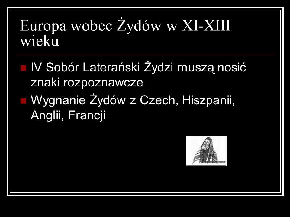 Europa wobec Żydów w XI-XIII wieku IV Sobór Laterański Żydzi muszą nosić znaki rozpoznawcze Wygnanie Żydów z Czech, Hiszpanii, Anglii, Francji