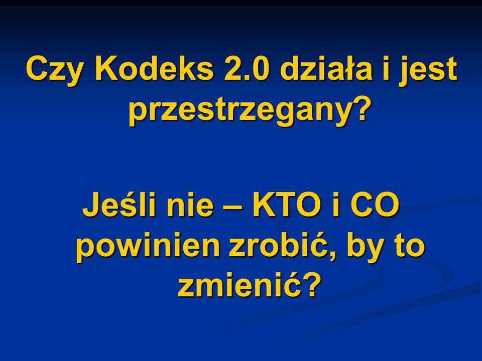 Czy Kodeks 2.0 działa i jest przestrzegany? Jeśli nie – KTO i CO powinien zrobić, by to zmienić?