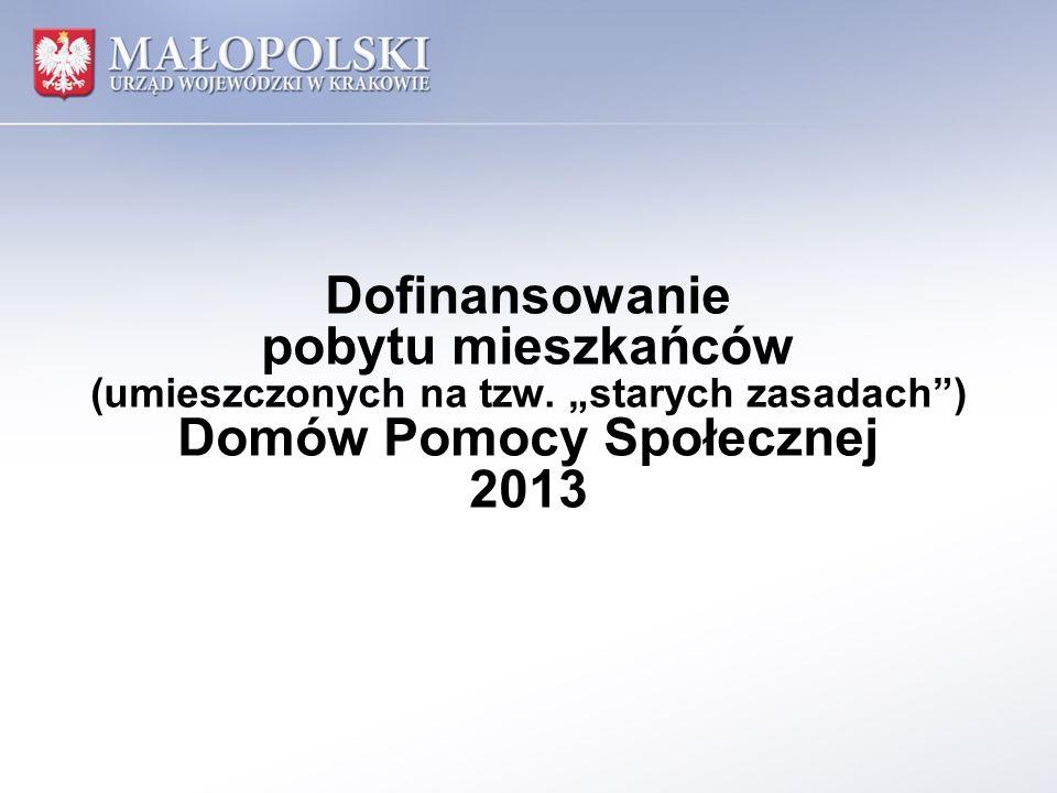 Liczba mieszkańców DPS w województwie małopolskim wg stanu na 30 września 2013 r.