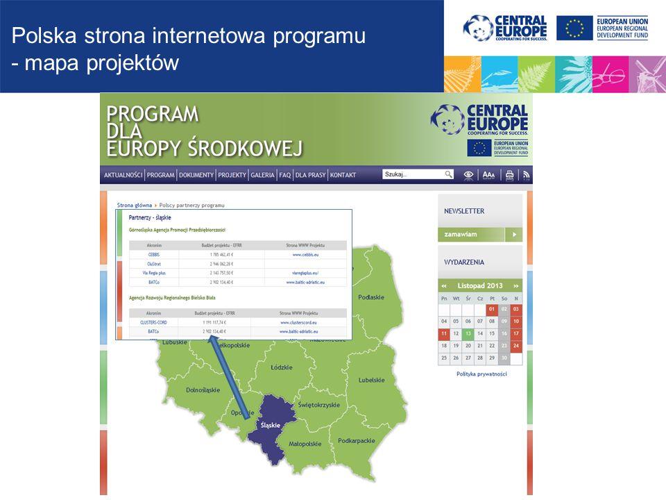 Polska strona internetowa programu - mapa projektów